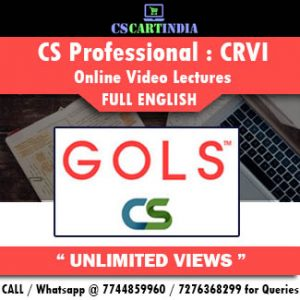 CS Professional Full English Corporate Restructuring Online Lectures