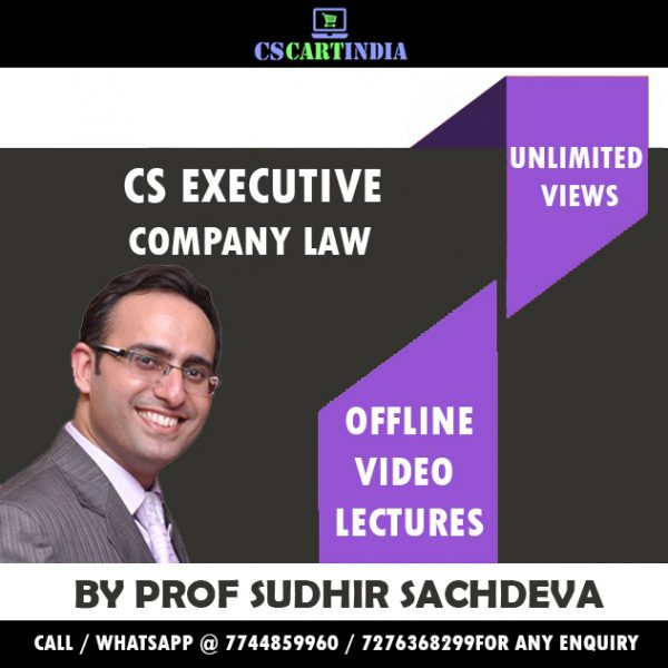 Sudhir Sachdeva Company Law Video Lectures (CS Executive)