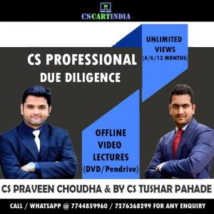 CS Professional Secretarial Audit, Compliance Management & Due Diligence by CS Tushar Pahade & CS Praveen Choudhary