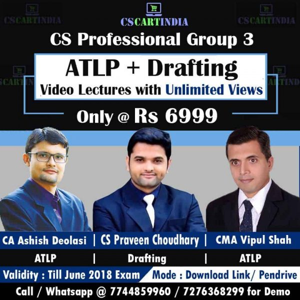 CS Professional Group 3 Video Lectures Combo (ATLP + DRAFTING)