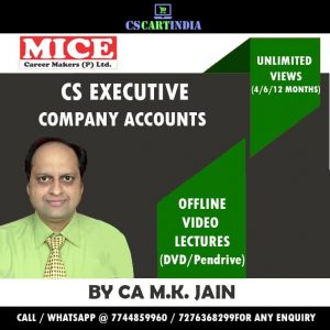 CS Executive COMPANY ACCOUNTS CA M K Jain