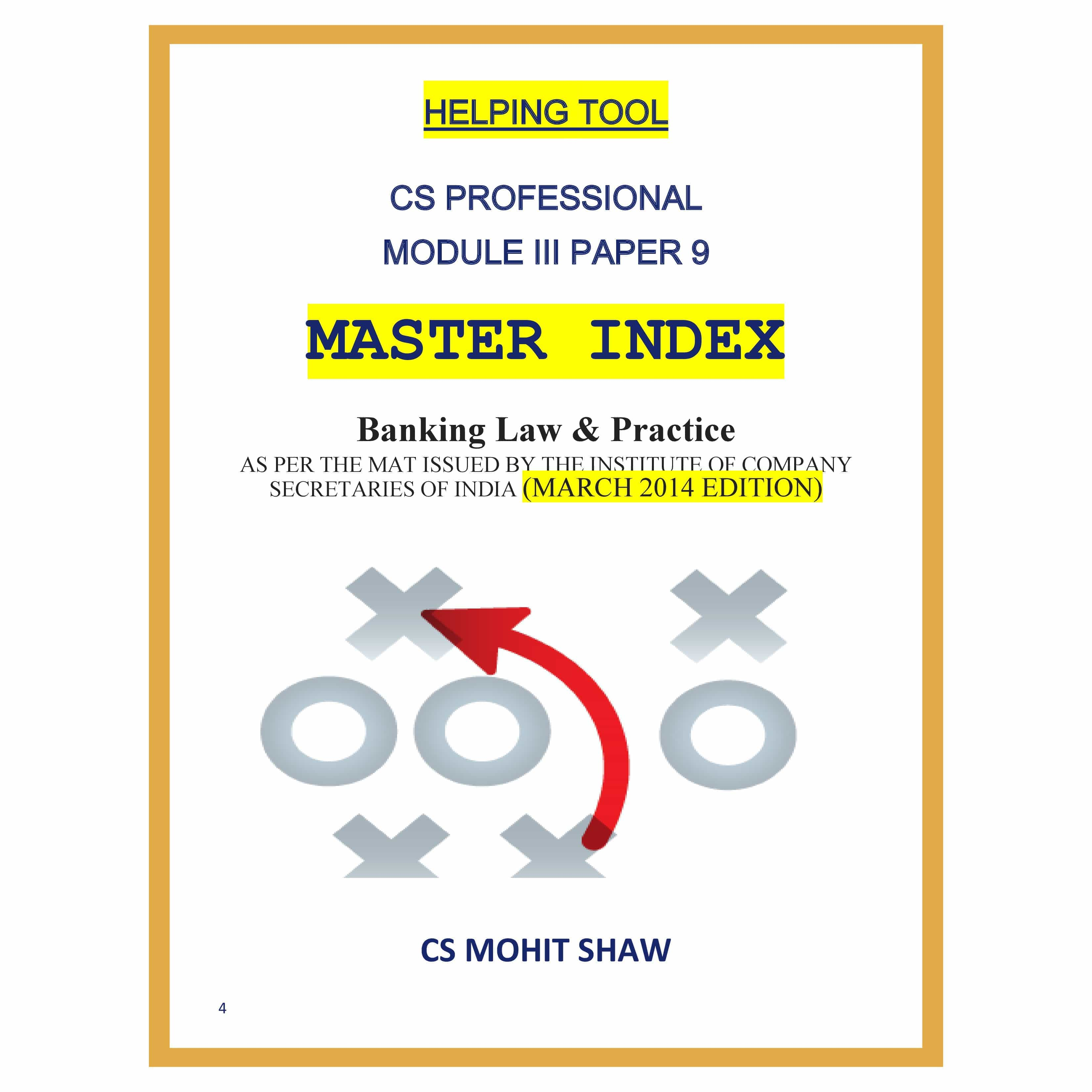 Online Drafting Tool Banking Law And Practice Master Index By Cs Mohit Shaw