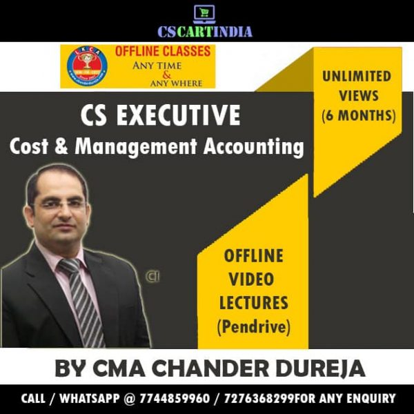 CS Executive Cost Video Lectures by CMA Chander Dureja