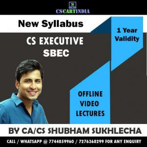 Shubham Sukhlecha CS Executive SBEC Video Lectures