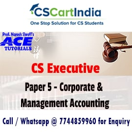 Ace Tutorials CS Executive Corporate Management Accounting